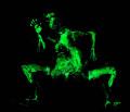 Autotrato. Pigmento fotoluminiscente sobre gelatina de plata (en la oscuridad). 2009.