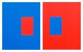 Variaciones en rojo y azul. Homenaje a Carlos Ausserladscheider. 2009. (Acrílico sobre lienzo).